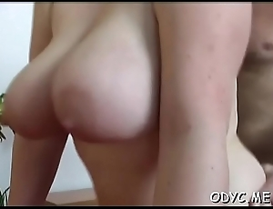 Sexy girl'_s hairless drenched crevice gangbanged