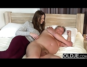 Young Girl Vs Aged Man - Gaunt Teen inviting facial from broad in the beam grandpa