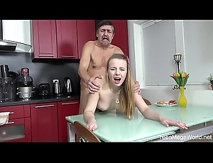 Old-n-Young.com - Angel - Older alms-man cums on fresh tits be required of afters