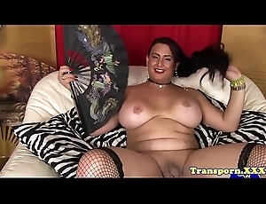 Busty tranny pornstar near stockings tugs cock