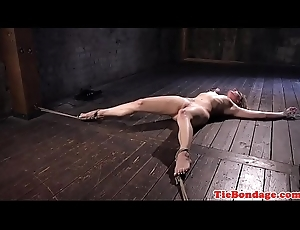 Blonde bdsm sub tied close to box be proper of rallying