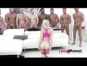 Petite Kira Be thick acquires get under one's GANGBANG be required of her life - Fucked by 10!