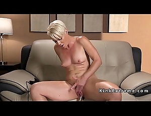 Solo blonde cougar fucks gadgetry