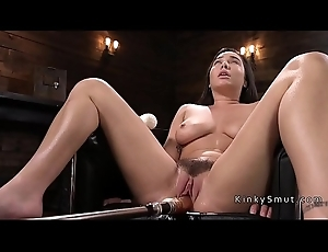 Curved busty pet fucking machine and squirting
