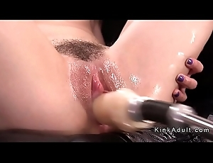 Slim hairy only babe in arms fucks outfit