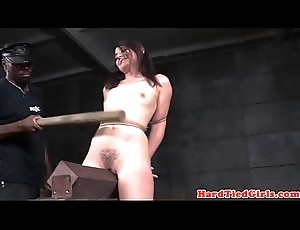BDSM sub whipped with jumbo stick wide of maledom