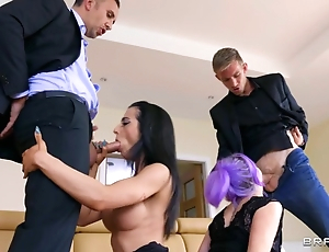 Three couples arrange swinger copulation at hand the living room
