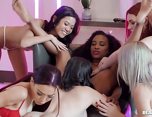 Young lezzies enjoy sexy pussy-licking just about abandoned orgy