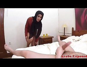 Exotic arab babe riding a tall cock