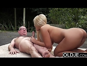 Old and Young Porn - BustyTeen Acquires Wet and Sucks Granddad