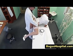 Eurobabe nurse slammed deeply away from doctor