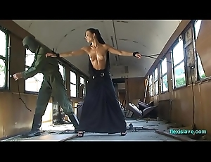 Bdsm hew Alex Zothberg nude, oiled, convict and whipped in train