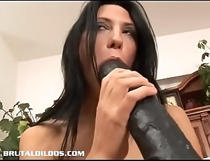 Skinny Russian Marty fills her wet crack with respect to a long dildo
